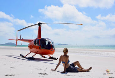 Park your helicopter at Whitehaven Beach and have a swim - Great Barrier Reef Australia