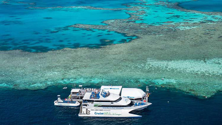 Aerial view of Reefworld Pontoon from Helicopter - Whitsundays Helicopter Flights