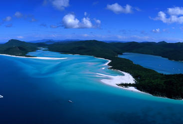 Aerial Shot of the stunning Whitehaven Beach - Great Barrier Reef Australia