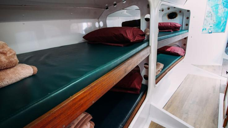 Bunk style accommodation on your liveaboard sail and snorkel tour in the Whitsundays