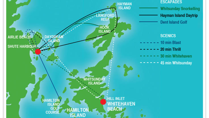 Whitsunday flight map
