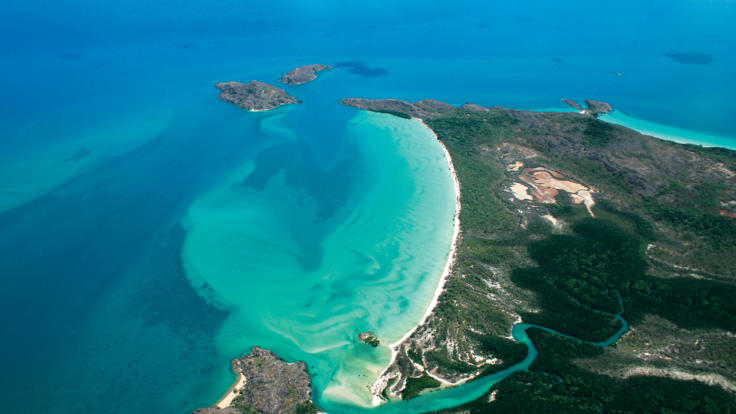 Aerial shot of Cape York Peninsula in Australia