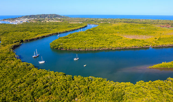 Aerial View Trinity Inlet in Cairns from Helicopter