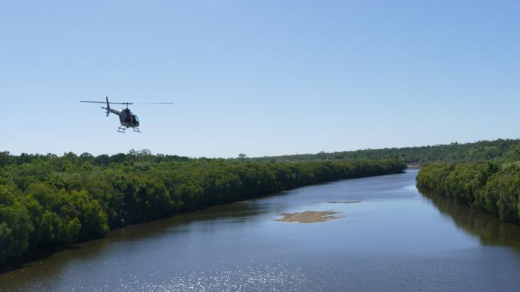 Mitchell River flying above in helicopter