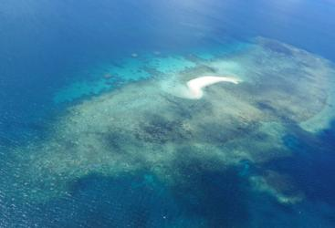 Aerial views of the Great Barrier Reef on scenic flight from Horn Island in Cape York