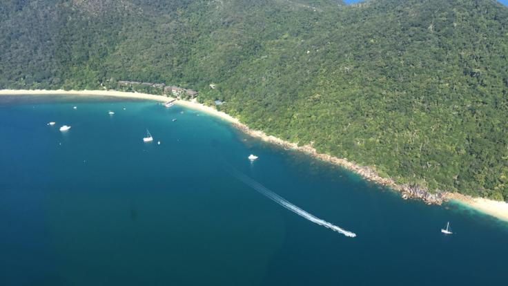 Aerial view of Fitzroy Island in Cairns