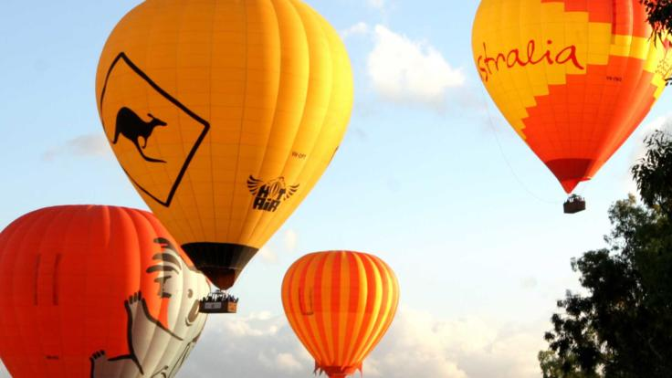 Bright hot air balloons in Cairns Australia