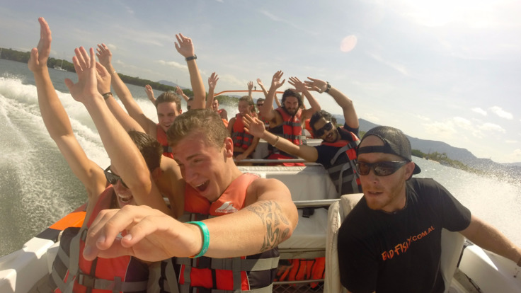 Ok, everyone hands up are you scared yet? Jet boat tour, Trinity Inlet