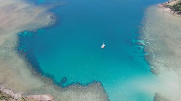 Yacht Charters Hamilton Island - Aerial View at Anchor Great Barrier Reef