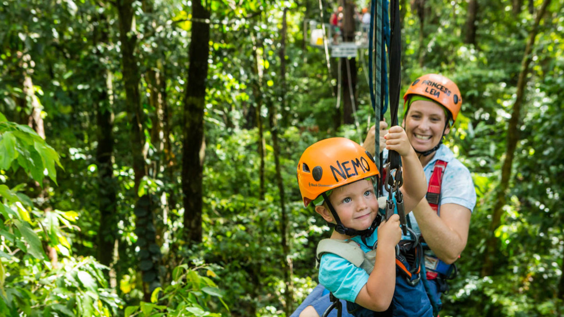 Even tall 3-year-old's can enjoy the thrill of Jungle Surfing in the Daintree