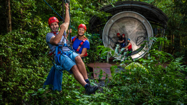 Board your Daintree Rainforest zip line tour from the human hamster wheel