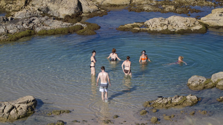 Swim in the ocean in rock pools on Fraser Island