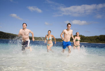 Enjoy swimming in fresh water lakes on Fraser Island
