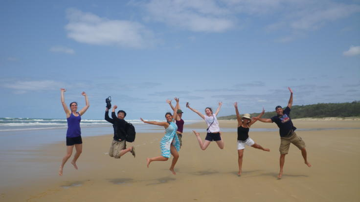 Beach selfies and antics with our 18 - 35's on Fraser Island