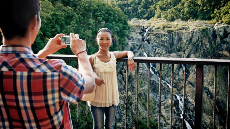 Tourists at Barron Falls station