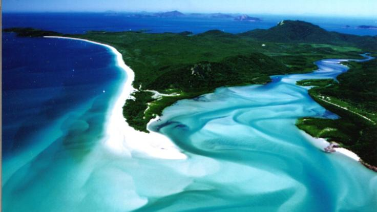 Aerial View from Hill Inlet overlooking Whitehaven Beach