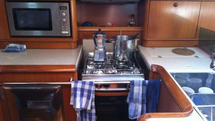 Galley of our luxury private charter yacht in the Whitsunday Islands