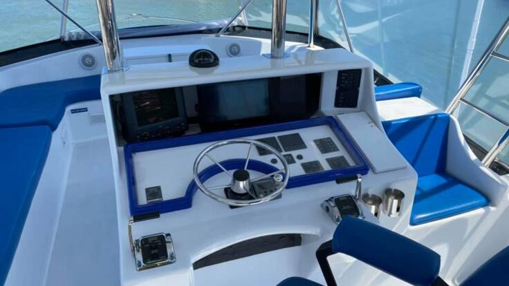 Flybridge seating on Cairns charter boat