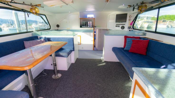 Cairns Private Charter Boat | Lounge and Dining Area