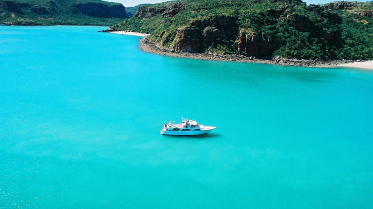 Aerial View of Charter Yacht in the Kimberleys Northern Australia| 10 to 12 Guests