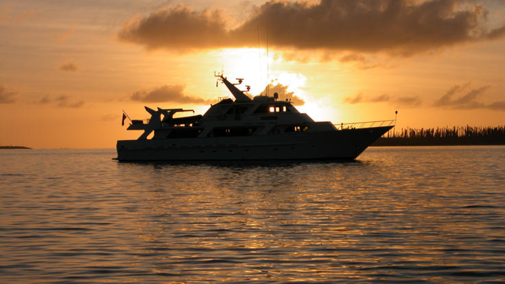 Private Charter Boat in the Whitsunday Islands | Great Barrier Reef | Australia | At Sunset