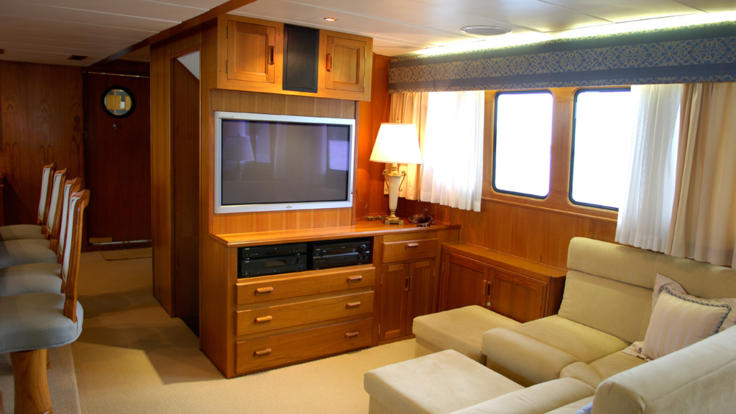 Luxury Private Charter Boat Great Barrier Reef | Inside Guests Lounge Room