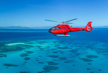 Helicopter flight over the Great Barrier Reef in Australia