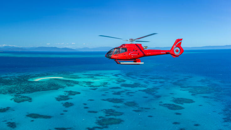 Helicopter Flight over the Great Barrier Reef in Australia from Cairns