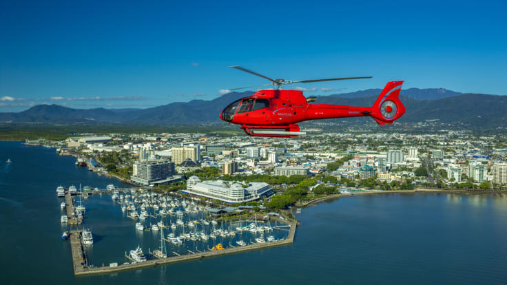 Helicopter scenic flight departing Cairns, Queensland, Australia