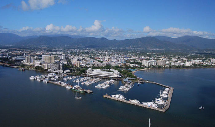 Aerial view over Cairns Marina & City from the helicopter