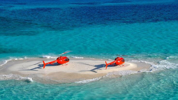 Helicopter Scenic Flights From Port Douglas for Groups to a Remote Sand Cay
