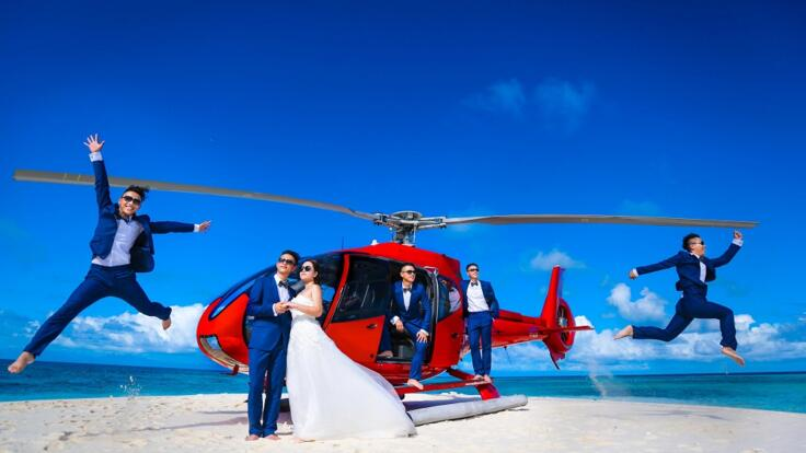Helicopter Flights Port Douglas - Romantic Wedding Photos on Undine Cay