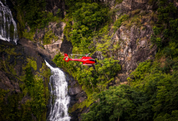 Enjoy a private scenic helicopter flight to a private waterfall in the Daintree Rainforest