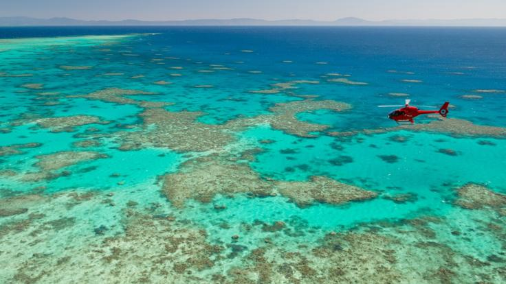 Helicopter flying above the Great Barrier Reef