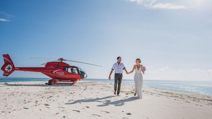Port Douglas Helicopter Flights - Sand Cay Wedding Photos