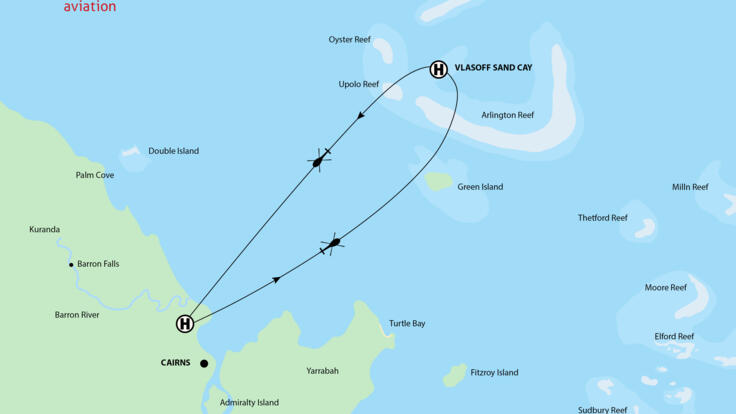 Cairns Helicopter Flight Map - Vlasoff Cay