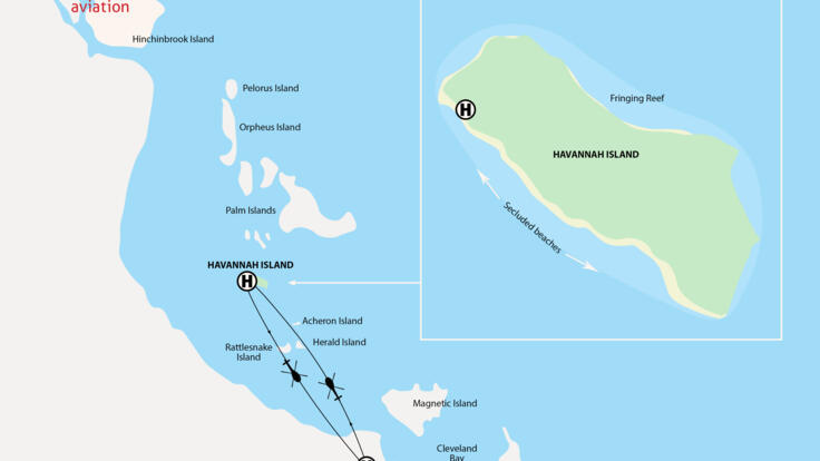 Townsville Helicopter Scenic Flights - Havannah Island Flight Map