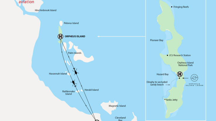 Townsville Helicopter Scenic Flights - Flight Map Orpheus Island