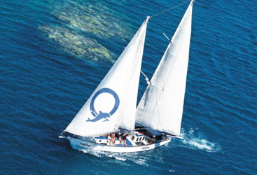 Aerial View of your motorised private charter yacht in Cairns on the Great Barrier Reef