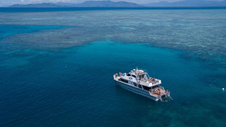Aerial View of tour boat at Upolu Reef on the Great Barrier Reef in Australia