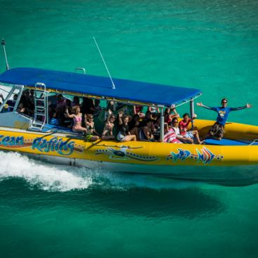 Aerial View of High Speed Rafting Boat in The Whitsundays- Great Barrier Reef Australia