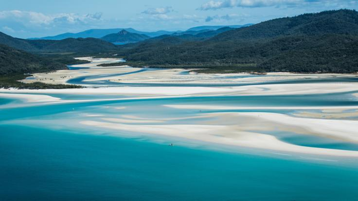Aerial view of Whitehaven Beach and Hill Inlet in the Whitsunday Islands on the Great Barrier Reef