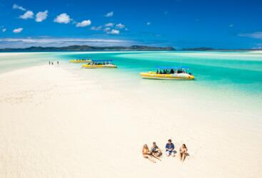 High speed ocean rafting boats at Whitehaven Beach in the Whitsundays