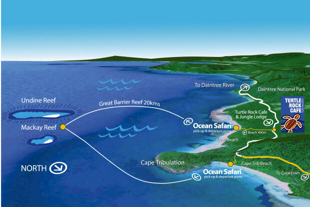 Cape Tribulation Snorkel Tour - Map of Fast Rib Boat Ride to Reef