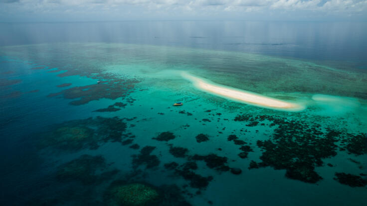 Aerial view Mackay Reef off Cape Tribulation Great Barrier Reef