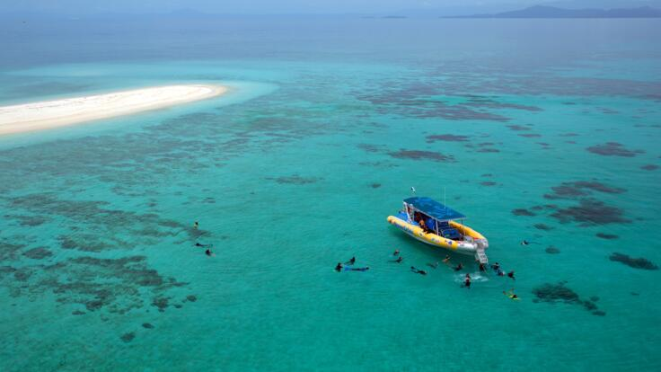 Aerial View of Sand Cay - Cape Tribulation Snorkel Tour