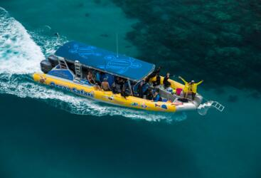 Aerial View of Fast Rib Boat on the Way to the Great Barrier Reef