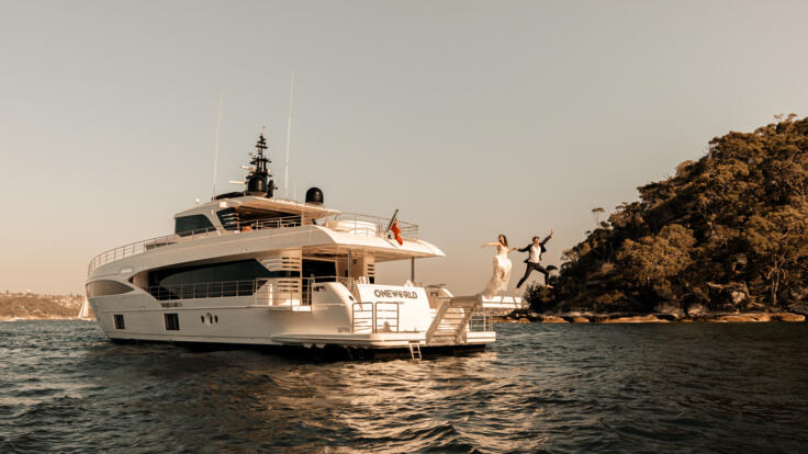Luxury Yacht Charters Great Barrier Reef - Wedding Couple Abandon Ship