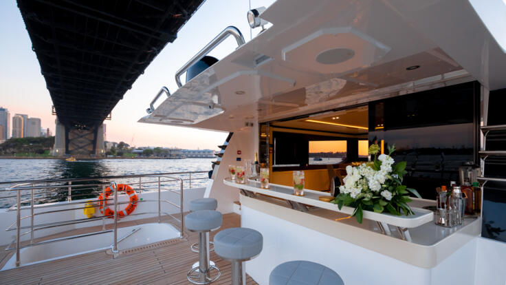 Superyacht Charters Australia - Outdoor bar upper deck