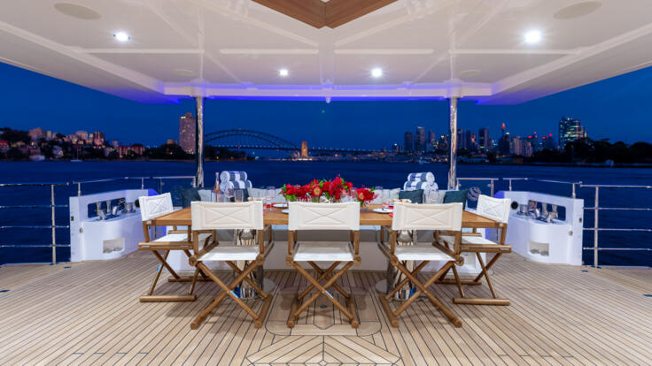 Superyacht Charters Australia - Dining outdoors on aft deck